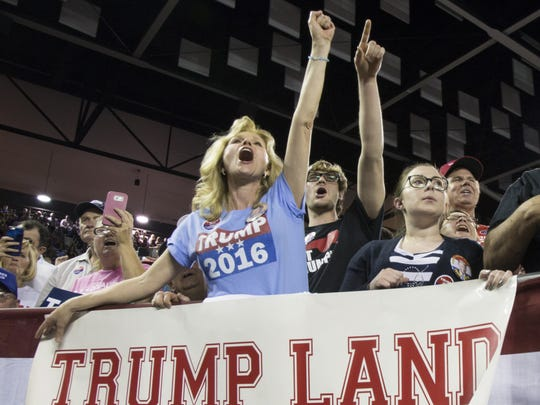 Maree Miller, of Cairo, Ga., reacts to Donald Trump as he speaks to supporters during a rally at Valdosta State University on Feb. 29, 2016 in Valdosta, Ga.