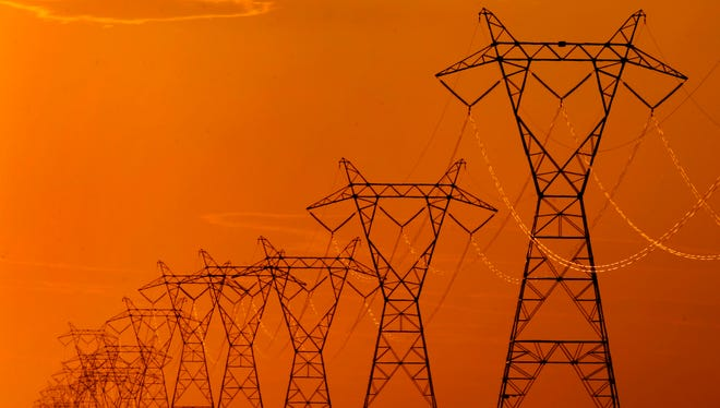 High-voltage electric transmission lines.