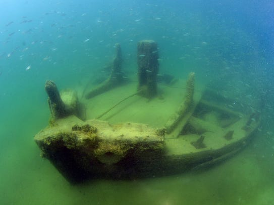 The LaSalle shipwreck, pictured, in the vicinity of