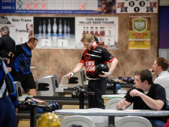 Brady Stearns prepares to bowl Thursday, May 3, at