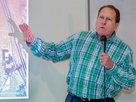 Royal Jones, owner of the Southern New Mexico Speedway, discusses his intentions to build and operate a multipurpose motor sports complex on 127 acres on the west side of Interstate 10, at the Vado exit at a community meeting at the Vado/Del Cerro Community Center on Thursday, Jan. 19, 2017.