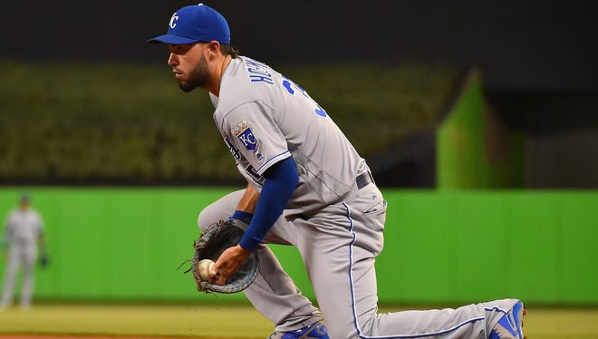 Kansas City Royals first baseman Eric Hosmer (35) fields a ground ball for an out in the game against the Miami Marlins at Marlins Park.