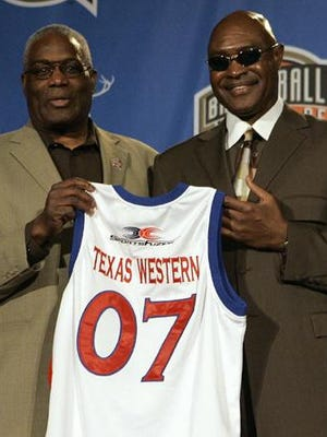 Harry Flournoy, left, and David Lattin from the 1966 Texas Western team hold their jersey's after being named members of the Naismith Memorial Basketball Hall of Fame Class of 2007.