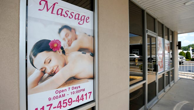 Shui Massage and Spa at 520 W. University is one of more than a dozen Asian massage parlors in Greene County raided as part of a sex trafficking probe on Thursday.