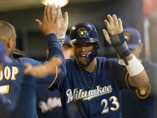 Brewers pinch runner Keon Broxton celebrates after