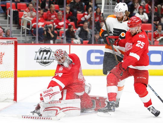 Red Wings goaltender Petr Mrazek (34) protects the