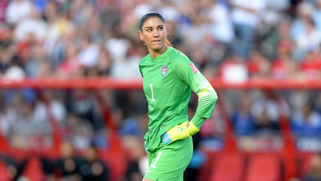 United States goalkeeper Hope Solo (1) reacts during the first half in the quarterfinals against China in the FIFA 2015 Women's World Cup at Lansdowne Stadium.