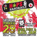 Longmont's Left Hand Brewing Co. hosts Hops & Handrails Beer Fest & Rail Jam from noon to 5 p.m. Saturday. The event combines 35 of Colorado's craft breweries with a snowboard competition on a 30-foot ramp.