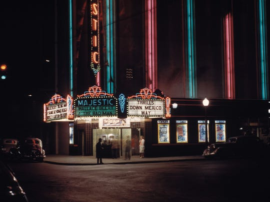 This 1940s-era photo shows neon lighting the old Majestic Theater, once on the corner of First and Center streets.