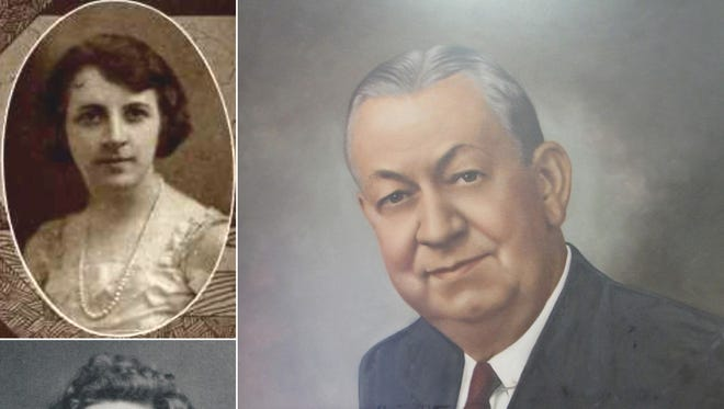 Hester Belle Anderson, upper left, in her 1923 college photo and Hester Belle Hardaway in 1979. James William Hardaway was one of the presidents of The Peoples Bank.