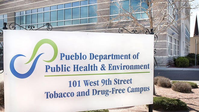 <p>CHIEFTAIN PHOTO/CHRIS MCLEAN</p><p>A sign with the new logo of the health department is shown outside the building at 10th and Santa Fe on March 31, 2018 in Pueblo, Colo.</p>