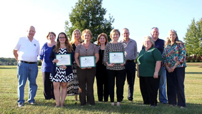 Eleven adult members received $1,000 continuing education scholarships from Adams Electric in the fall. Recognition certificates were presented by Board Secretary and Scholarship Committee Liaison Nadine Hubner, right, as well as Scholarship Committee members Lucinda Heller, third from right and Bill Rowley, left. Those present were, from left: Andrea Katz, Samantha Dell, Lisa Harman, Jill Lippiatt, Ann Maria Gray-Leko, Nicole Renninger, Kevin Hoover and Chris Frank.