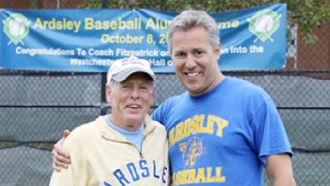 Neil Fitzpatrick with former players and current Ardsley baseball coach Jeff Caldara earlier this month at a reunion.