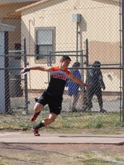 "Capitan's Wade Stearns throws the discus 108' 10"" for a fourth place finish at the Rose Relays in Tularosa."