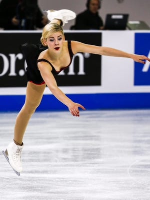 Gracie Gold of the US competes in the Ladies Short program at the 2015 ISU Progressive Skate America Grand Prix at the UMW Panther Arena in Milwaukee, Wisconsin.
