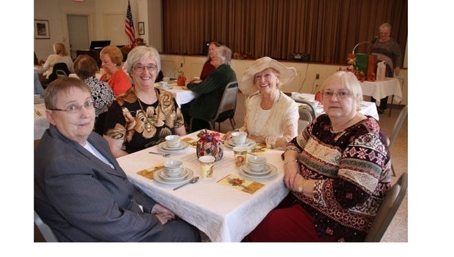(From left) Joan Nickerson, Mary Jane Billings, Charlotte Erbland and Carole Weckstein enjoy a Thanksgiving Tea sponsored by the Literature Committee at the Millville Woman's Club.