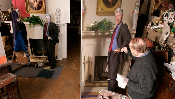 With a replica of the fireplace in the Oval Office