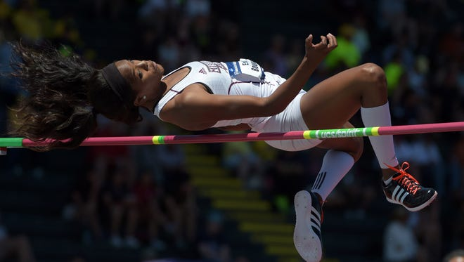 Jun 10, 2015; Eugene, OR, USA; Erica Bougard of  Mississippi State clears 6-0 1/2 (1.84m) in the heptathlon high jump during the 2015 NCAA Track & Field Championships at Hayward Field. Mandatory Credit: Kirby Lee-USA TODAY Sports