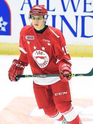 Morgan Frost of the Sault Ste. Marie Greyhounds has 11 goals and 24 points in 27 games.