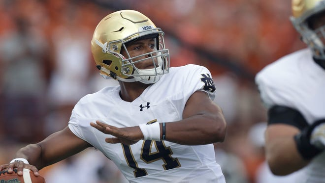 Notre Dame quarterback DeShone Kizer (14) throws against Texas during the first half of an NCAA college football game, Sunday, Sept. 4, 2016, in Austin, Texas.
