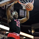Feb 28, 2015; Tallahassee, FL, USA; Louisville Cardinals forward Chinanu Onuaku (32) dunks the ball during the first half of the game against the Florida State Seminoles at the Donald L. Tucker Center. Mandatory Credit: Melina Vastola-USA TODAY Sports