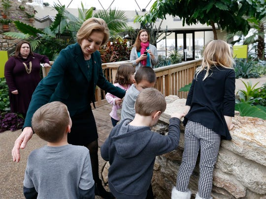 Republican presidential candidate Carly Fiorina greets