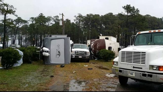 Campers are tipped over at Cherrystone Campground after an apparent tornado moved through Northampton County on Thursday morning.