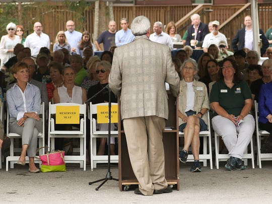 Local dignitaries and employees of of the Conservancy of Southwest Florida gathered Tuesday for a ground breaking of the new outdoor wildlife rehabilitation and recovery spaces at the von Arx Wildlife Hospital.