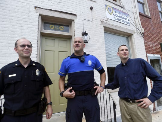 Police Chief David Arnold, left, Corpl. Shane Good and Mayor Darren Brown at the Chambersburg Police Community Substation is located at 41 West Washington Street. Pictured on Thursday, July 9, 2015.