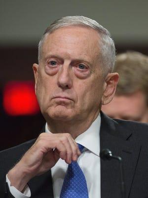 Defense Secretary Jim Mattis testifies before a Senate panel on June 13, 2017.