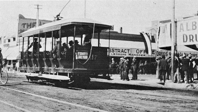 A streetcar running in downtown Mesa? Never happened. Even with voter approval in 1909, electric streetcars, as seen in this photograph from Phoenix, never reached Tempe or Mesa.