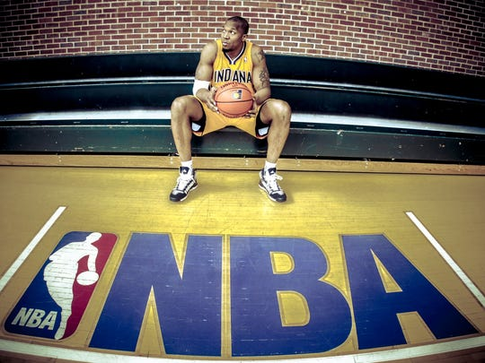 In his 10th season in the NBA, David West (shown during an April 2 practice at Bankers Life Fieldhouse) has career averages of 15.9 points and 7.2 rebounds, with two All-Star appearances.