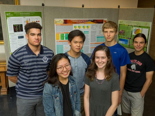 Six high school students from Ithaca and Lansing had paid research internships this summer at the Boyce Thompson Institute. From left front, Lisa Yoo of Cayuga Heights, Caroline Taylor of Lansing, back, Cam Mitchell, Matthew Guo, Filip Jander, all of Ithaca, and Luc Wetherbee of Cayuga Heights.