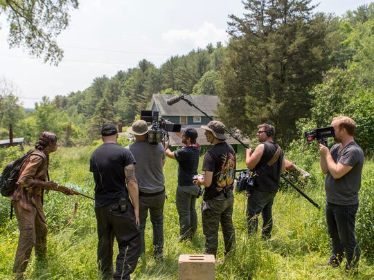 "The crew of ""Here Alone,"" a post-apocalyptic horror thriller, film in Gibson in the summer of 2015."