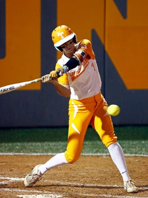 Tennessee's Scarlet McSwain takes a swing against Monmouth in an NCAA tournament softball game at Lee Stadium earlier this month.
