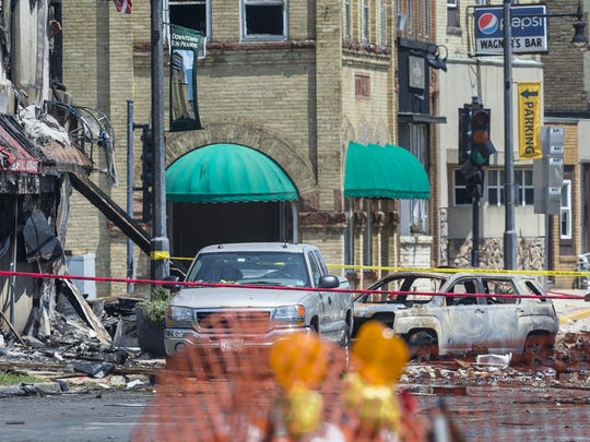 A gas leak explosion destroyed at least four buildings