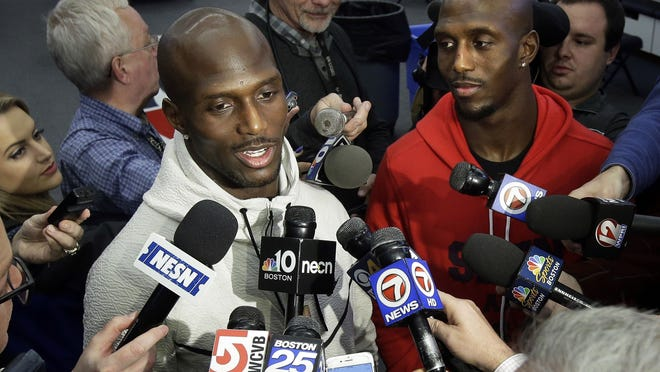 Patriot cornerback Jason McCourty, left, and his brother, Patriots free safety Devin McCourty.