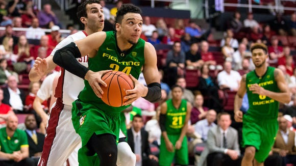 Feb 13, 2016; Stanford, CA, USA; Oregon Ducks forward Dillon Brooks (24) dribbles against the Stanford Cardinal in the 2nd half at Maples Pavilion. Mandatory Credit: John Hefti-USA TODAY Sports Stanford won 76-72.