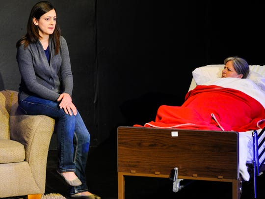 "Actresses Kayle Petitjean and Debbie Ardoin on stage at The Acadiana Repertory Theatre rehearsals of ""Anatomy of a Hug"". May 18, 2016"