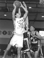Eric Menk plays for Lake Superior State University in the mid-1990s. He has announced retirement from a successful career playing in the Philippines.