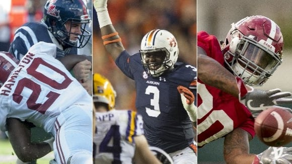 Former G.W.  Carver High defensive stars Shaun Hamilton (20), Marlon Davidson (3) and Mack Wilson have been contributors for Alabama and Auburn, respectively, this season. Hamilton is a junior while Davidson and Wilson are true freshmen.