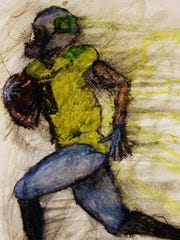 The colors trail in former Oregon Duck De'Anthony Thomas' wake in this painting by Eugene artist Michael Cross, who wanted to show that Thomas ran so fast that he was nearly disintegrating.