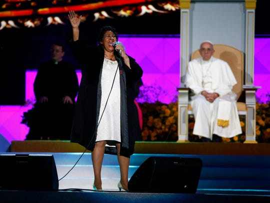Pope Francis watches the Motor City's own Aretha Franklin sing at the Festival of Families along Benjamin Franklin Parkway in Philadelphia.
