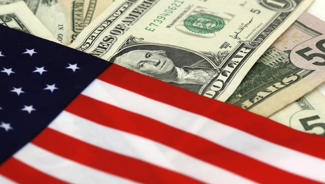 Dollars and flag.