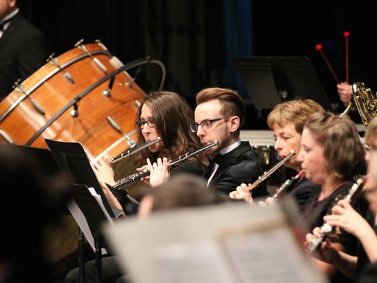 Monroe Symphony Orchestra musicians Mallory Sanchez,