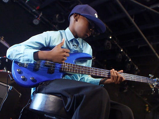 Lil Asmar, the 10 year old bass playing musical prodigy performs at the Stone Pony in Asbury Park.