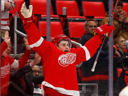 Dylan Larkin celebrates his goal Tuesday in the second period.