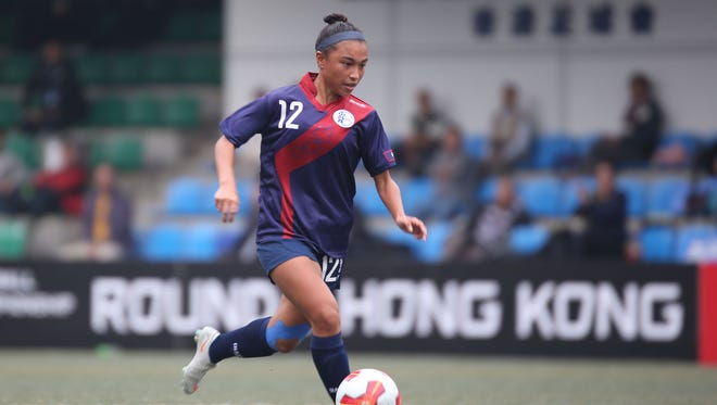 Guam's Skyylerblu Johnson makes her way to the goal against Hong Kong during the EAFF E-1 Football Championship Women's Competition semifinal round in Hong Kong in 2016 in this file photo. Johnson will play for the Highline College Thunderbirds later this year in the team's title defense of the Northwest Athletic Conference championship.