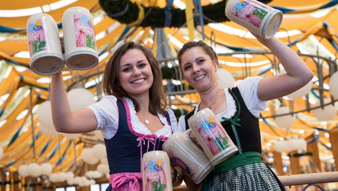 The presentation of the official Wiesn-Masskrug 2016 beer stein for this year's Oktoberfest, in Munich, Germany. This year's Oktoberfest runs from 17 September to 03 October.