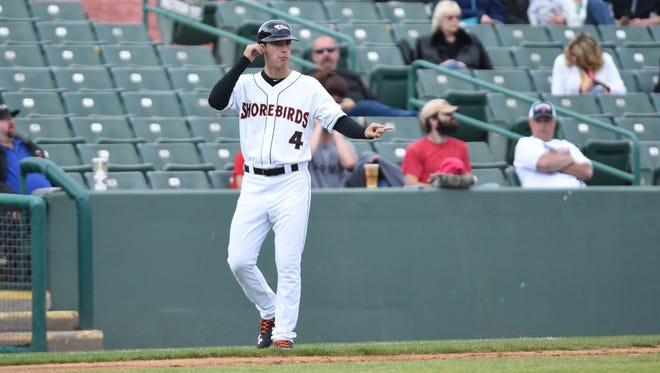 Kyle Moore played for the Shorebirds for parts of two seasons, but now works as the team's hitting coach.